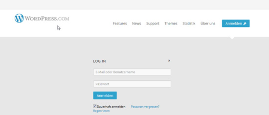 Screenshot WordPress-Bloghosting